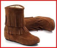 Hot 2014 new fashion autumn winter snow boots women wedges  Ankle designer Fringe Tassels ladies women Shoes warm size 40 41 42