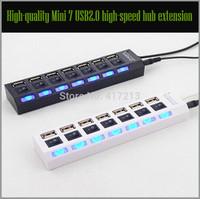 Free transportation : Mini USB 2 high speed 7 port hub / off black white notebook computer direct sharing device 10 Pcs