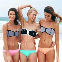 2014 high quality sexy zipper triangl neoprene bikini swimsuit biquinis women push up bathing suit high waist bikini brazilian