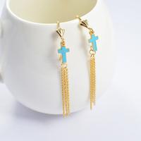 2014 Fashion Women's Titanium Steel Gold Blue Cross Tassel   Drop Earrings Cute Earrings