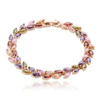 Allencoco luxury design women girls jewelry/Shinning colourful Zircon leaf/leaves 18k real platinum plated Bracelet  WL0702