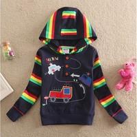 Free Shipping 2014 New Arrival Baby Boys Cars T-shirt Kids 100% Cotton t-shirts Hooded Baby Printed tshirts Cartoon Clothing