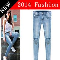 2014 casual boyfriend denim women jeans overalls desigual skinny jean bone ripped woman pants brand destroyed pant 912LX