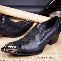 37-46 Brand design men metal point toe snake genuine leather oxford shoes Vintage Carving high increase business shoes for men