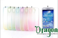 100pcs/lot Clear Rainbow Colorful PC Frame Soft Silicone Rubber TPU Gel Shell case cover skin For Samsung Galaxy S4 S IV i9500