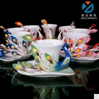 Free Shipping  Ceramic coffee mug cup porcelain enamel peacock couple cups of Phoenix married couple