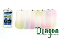 100pcs/lot Clear Rainbow Colorful PC Frame Soft Silicone Rubber TPU Gel Shell case cover skin For Samsung Galaxy S3 III i9300
