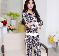 Charming fashion women tracksuits clothing set brand,comfortable flower pattern sport suit jogging suits for female blusinhas