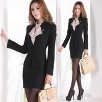 2014 spring and autumn career set women's fashion ol work wear women's blazer set formal work wear skirt suit for women *