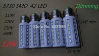 Dimming 12W 110V/220V LED Corn Light E27 E14 B22 led lamp 42 LED 5730/5630 Warm White Cool White Led Bulbs&Tubes  5pcs/lot