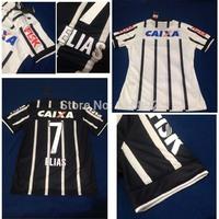 Corinthians size xxl ELIAS Guerrero RALF PATO GUERRA  jersey 2014 home away black shirt  football white with black stripes