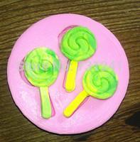 New Arrival!  Design 375  3pcs Lollipop Shape  Silicone 3D Cake Fondant  Mold, Cake Decoration Tool