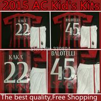 2014/15 AC Milan Kids kits jersey,2014 AC Milan BALOTELLI EL SHAARAWY HONDA KAKA Montolivo kid's Children youth soccer jerseys.