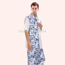 Men's Satin Pajamas Blue White Floral Printed Contrast Color Patchwork Short Shirt Pants Satin Silk Sleepwear Large Size M-XXXL(China (Mainland))
