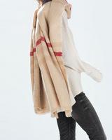 Free Shipping Za Brand  Beige Color Women Brand Warm Wool Scarf Fashion Big Size Shawls Women Scarf with logo