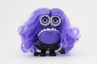 Despicable Me 2 Purple Minions Speaker With Wig support U-disk TF card FM  audio player Pefect Carton mini speaker 100PCS/lot