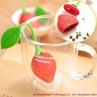 Free shipping! Wholesale high quality strawberry silicone tea strainers, tea filters, tea bags tea set color random