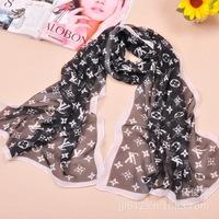 Women Fashion High Quality chiffon scarf pattern scarf Letter Print models scarves Brand Styles