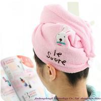 Free shipping! Wholesale high quality microfiber towel dry hair cartoon bunny, super absorbent dry hair cap color random