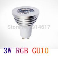 85-265V   3W GU10 Remote control RGB LED Spot Light   Free shipping