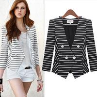 2014 new women's fashion brand  striped double-breasted suit slim blazer  Z186