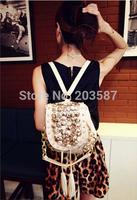 free shipping new rivet retro backpack fringed shoulder diagonal  Woman's bag