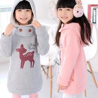 Autumn/winter 2014 children clothes Pure cotton fleece thickening child deer long children  hooded fleece