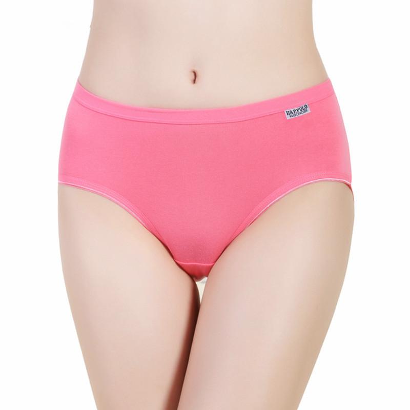 Cute girls underwear cotton underwear female candy colored cotton solid color waist underwear lady briefs(China (Mainland))