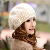 2014 New Wool Women Fedora A flower rabbit fur beret winter warm double wool hat cap wholesale ladies fashion wild stewardess