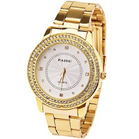 Fashion Paidu Women Watch Diamond Squares and Dots Hour Marks with Round Dial Steel Watchband Wrist Watch Dress Watch Gold