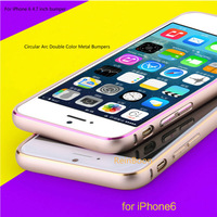New Luxury Hippocampal Buckle Metal Bumper Case Circular Arc Double Color AluminumBumpers Frame For Apple iPhone 6 4.7inch