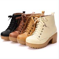 enmayer новый 2015 круглый носок колено сапоги для женщин случайных Шнуровка зимние сапоги обувь платформы Мартин сапоги большой size34-43