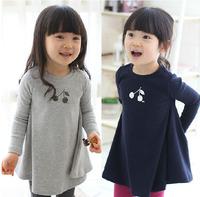 Min. qty any 2pcs in the shop Size100~140 autumn girls dress children clothing child dresses kids cherry t-shirt