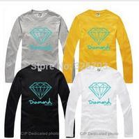 New 2014 Summer Brand Women and Men's T-Shirt Diamond Supply co Men's Clothing Hip Hop Casual Long sleeve t shirts Tops & Tees