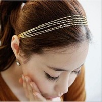 European and American Official Website Golden Tassels Woven Multilayer Metal Chain Headband