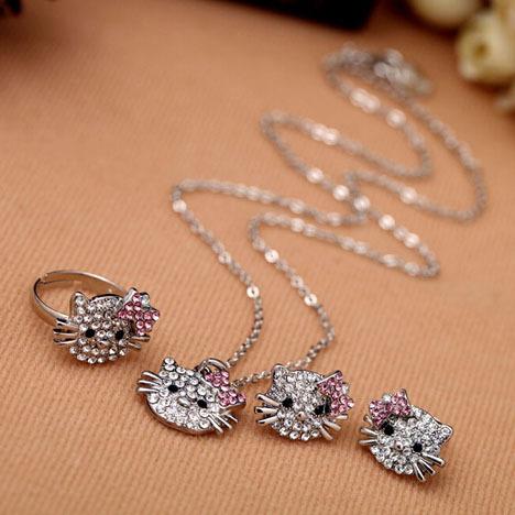 High Quality elegant charming fashion hello kitty jewelry sets ( $10 free shipping )(China (Mainland))