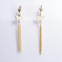 2014 Fashion Women's Titanium Steel Gold White Dragonfly Tassel  Drop Earrings Cute Earrings