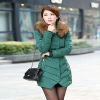Plus Size M-3XL Women's Slim Thick Long Large Fur Collar Winter Snow Warm Down Cotton Coat  Parkas For Women,3 Colors,C8658