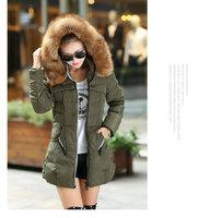 Plus Size M-4XL Women's Slim Thick Long Large Fur Collar Winter Snow Warm Down Cotton Coat  Parkas For Women,3 Colors,C8659