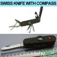 New arrival 13 in 1 SWISS KNIFE with Compass Flashlight Folding knife multi tool FOR Camping, Hiking, Hunting, outdoor activity.