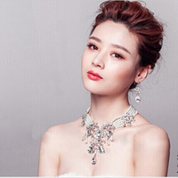 luxury Korean female Exaggerate clavicle chain pearl necklace earring sets bride wedding jewelry sets wedding accessories