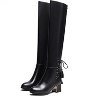 Top Quality Tassel Decoration Womens Genuine Real Leather Over The Knee Boots Women Warm Snow Boots Shoes Big Size 34-43