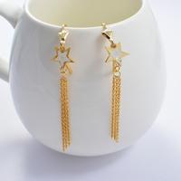 2014 Fashion Women's Titanium Steel Gold White Star Tassel  Drop Earrings Cute Earrings