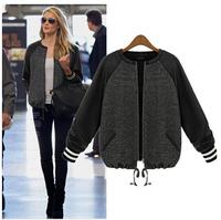 free shipping 2014 autumn the European station Splicing jacket long sleeved sweater slim jackets women women coat