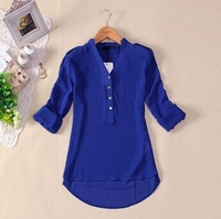 Temperament Casual Shirt Women Spring Summer 2014 Long Sleeve Chiffon V-neck Blouse Drop shipping