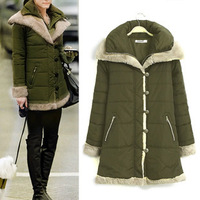 Hot Sale New 2014 Women Winter High Quality Single Breasted Thick warm Slim Fur Collar Full Sleeve Cotton- Padded Jacket LJ313