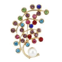 Free Shipping Fashion New Gold Multicolor Rhinestone Wedding Brooches For Women Men Crystal Rhinestone Brooch pins
