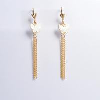 2014 Fashion Women's Titanium Steel Gold White Butterfly Tassel  Drop Earrings Cute Earrings