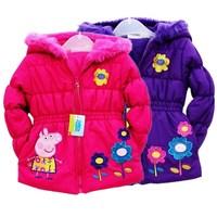 New 2014 Hello Kitty Girl's Winter jackets hooded children's Coats winter warm Outerwear & Coats.  Cartoon rabbit wool sets