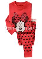 free shipping 6 sets/lot Children's Pyjamas kids Minnie long sleeve sleepwear clothing girls cartoon suits baby wear